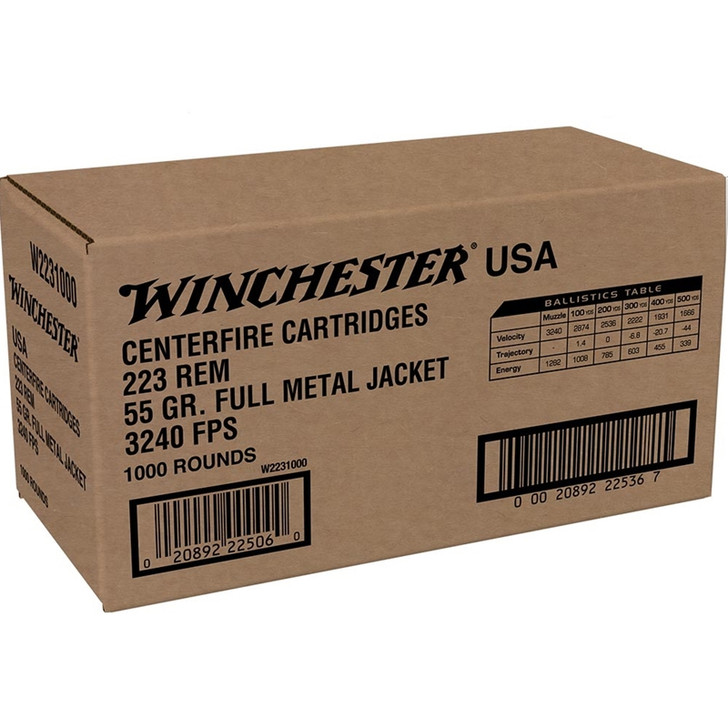 Winchester .223 55GR FMJ - W2231000 - 1,000RD CASE