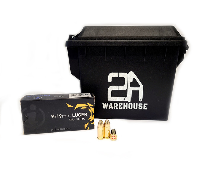 IGMAN 9MM 124GR Full Metal Jacket - Brass - 300rds - FREE AMMO CAN