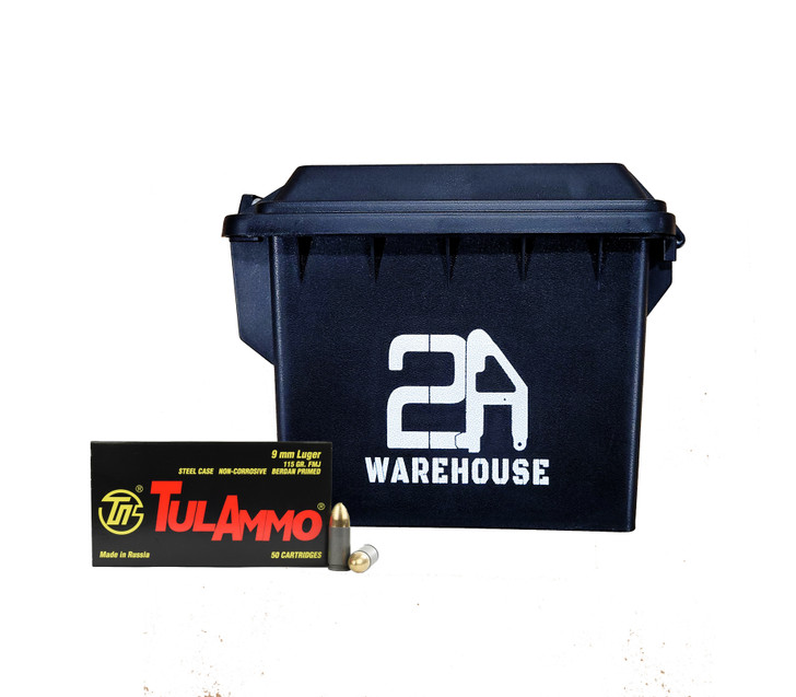 TULA 9MM 115GR FMJ -  Steel Case - 350rds - FREE AMMO CAN