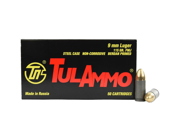 TULA 9MM 115GR FMJ -  Steel Case - 50 Round Box