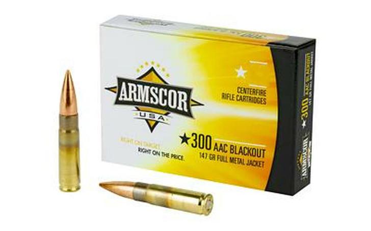 Armscor .300 Blackout  147GR Full Metal Jacket - Brass - 100 Round Box