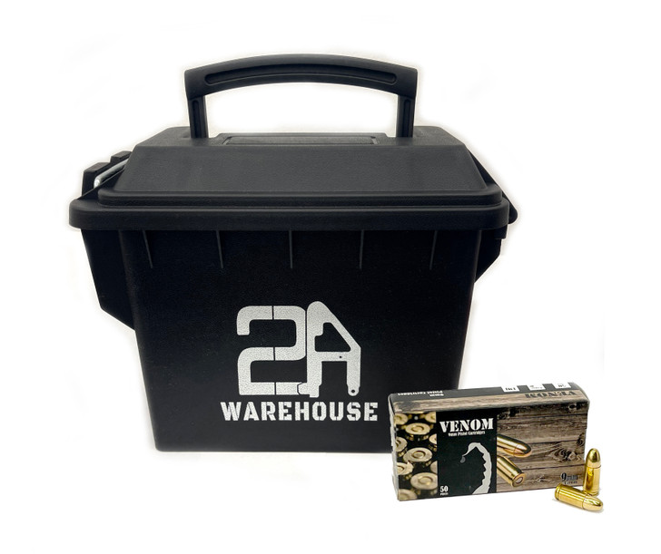 VENOM 9MM 115GR Full Metal Jacket - Brass - 350 Rounds - Free AMMO CAN