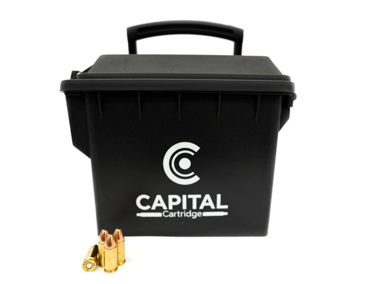 9MM 124GR Full Metal Jacket - New Brass - 250rds - FREE AMMO CAN