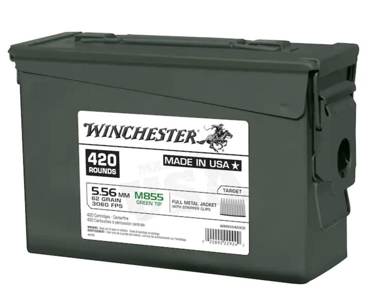 Winchester 5.56 - 62GR M855 Green Tip - WM855420CS-  420RD CAN