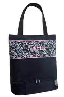 Sassi DSK-02 Damask Tote W/ Shoe Compartment