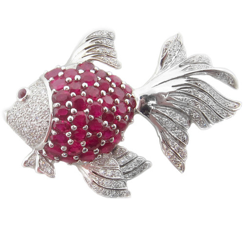 Lady's Cheerful Ruby & Diamond Fish Brooch
