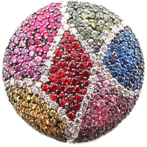 Multicolor Rainbow Sapphire & Diamond Pendant