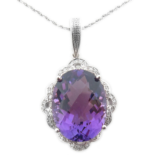 Lady's Passionate Amethyst & Diamond Pendant