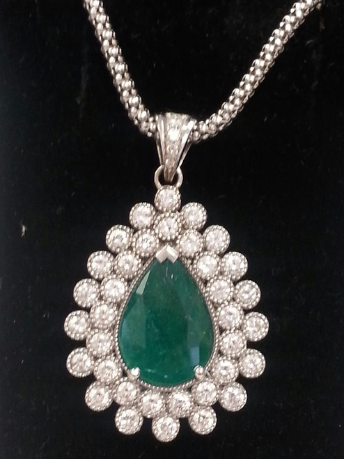 Lady's Splendid Emerald And Diamond Pendant
