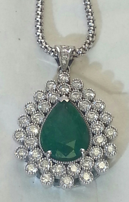Lady's Splendid Emerald And Diamond Pendant
