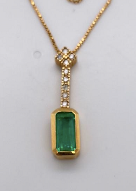 Lady's Graceful Emerald And Diamond Pendant