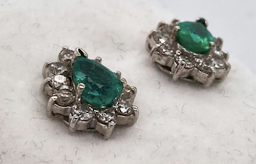 Lady's Exquisite Emerald And Diamond Earrings