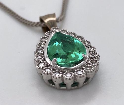 Lady's Magnificent Emerald And Diamond Pendant