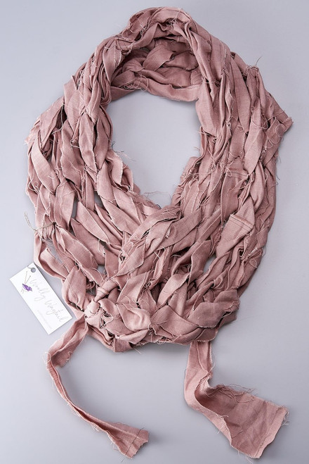 Pink - Linen Knitted Scarf