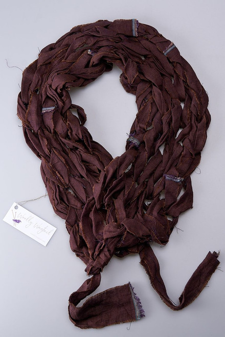 Brown and Aubergine - Linen Knitted Scarf