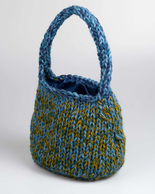 Blue and Green - Large Knitted Bag