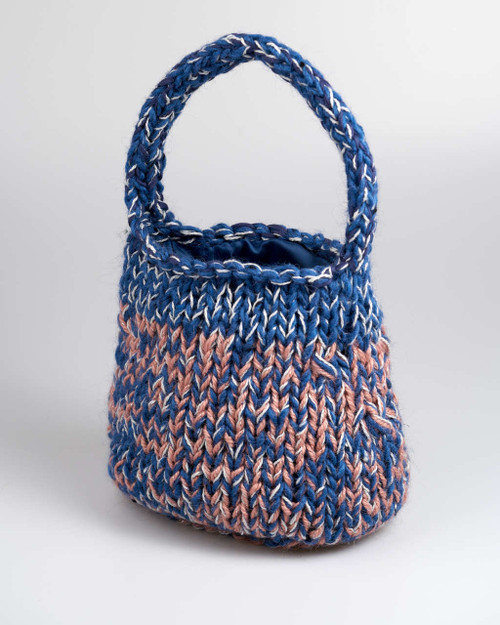 Blue and Pink - Large  Knitted Bag
