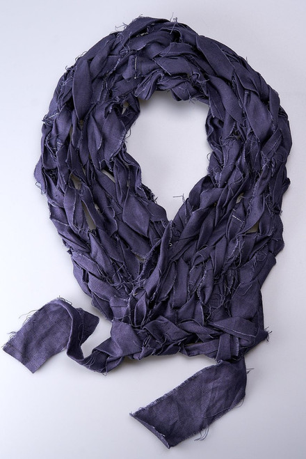Purple - Linen Knitted Scarf