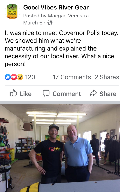 Governor Polis visits Good Vibes River Gear
