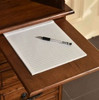 """Wooden Pull Out Writing Tablet  or Mouse Board Solid Oak 42"""" Roll Top Desk Perfect for small areas and as a student desk Single Pedestal with Locking File Drawer  Antique Burnished Walnut Stain on Solid Oak"""