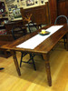 """Reclaimed Wood Farm Table with two 15"""" leaf extensions  Turned Leg Style"""