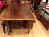 "Benches Optional Reclaimed Wood Farm Table with two 15"" leaf extensions"