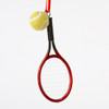 Plastic Tennis Racket With Ball Ornament