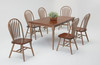 Solid Wood Farm Table 36x48 + 4 Fanback Chairs +12 Inch Self Storing Leaf  Dark Chestnut with Sandy Gray Finish