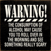 Warning! The consumption of alcohol may cause you to roll over in the morning and see something really scary Wood Sign