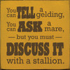 You can tell a gelding, you can ask a mare, but you must discuss it with a stallion. Wood Sign