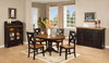 Round Pedestal 42 inch Table Plus Leaf And Four X Back Chairs