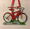 Bicycle Personalized Ornament Red Personalization Example