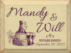 Custom First Names - Established Date Wine Theme Wood Sign