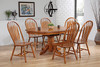 "Single Pedestal Table 42"" x 54"" with Self Storing 12"" Butterly Leaf with 4 Monarch Curved Back Chairs Warm Hazel Finish"