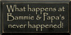 9x18 Black board with Cream text  What Happens at [CUSTOM]'s Never Happened!
