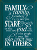 9x12 Peacock board with white text Wood Sign Family is family, whether it's the one you start out with or the one you end up with.  It's the people in your life who want you in theirs.