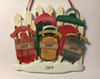 Resin Family of Five Sled Ornament 4.25 in. Personalization Example
