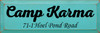 8x24 Aqua board with Black text Camp Karma