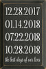 12x18 Charcoal board with White text  12.28.2017 01.14.2018 07.22.2018 10.28.2018 the best days of our lives