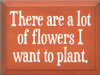 9x12 Burnt Orange board with White text  There are a lot of flowers I want to plant