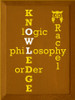 9x12 Caramel board with White and Sunflower text  KNOWLEDGE - Logic - Philosophy - Order - Rachel