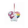 Pink Glitter Rainbow Magic Unicorn With Heart Ornament For Personalization 3 in.