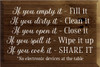 12x18 Walnut Stain board with White text  If you empty it - Fill it If you dirty it - Clean it If you open it - Close it If you spill it - wipe it up If you cook it - SHARE IT  *No electronic devices at the table