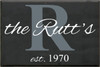 16x24 Charcoal board with Slate and White text  The Rutt's est. 1970