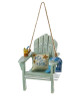 """Beach Chair Ornament - Sand Surf Sun & Me This beach chair ornament is a fun, unique way to add a nautical touch to your holiday décor! This design features a sea green beach chair with a mixed drink in its cup holder in one arm, a towel over the other arm and a pillow resting on the seat that reads """"Sand Surf Sun and Me."""" Made of resin Perfect for those who love the beach! Item Size: 3-inches tall"""