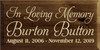 9x18 Walnut Stain board with Cream text  In Loving Memory Burton Button August 11, 2006 - November 12, 2019