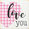 Love You with pink plaid heart Wood Sign