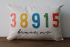 Zip Code with City, State - Personalized Pillow 12 x 20