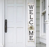 Outdoor Welcome Sign for Porch - Birdhouse - Vertical Porch Board 8x47 White With Black Lettering