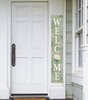 Outdoor Welcome Sign for Porch - White Hydrangea - Vertical Porch Board 8x47